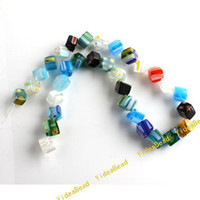 Wholesale 50pcs Mixed Cubical Lampwork Glass Charms Beads Fit Bracelets Necklaces Jewelry DIY mm