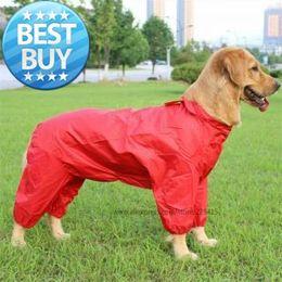 Головные уборы для собак Онлайн-Оптовая Большой собак Pet плащ для больших собак верхняя одежда водонепроницаемая одежды любимчика пальто Have шлема XS - XXL Красный и Bule