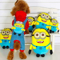 Wholesale Cartoon Four Feet Minions Doll On The Back Dog Overalls Pets Cotton Clothes For Dogs Puppy Cat Bib Pants Pet Supplies Colors