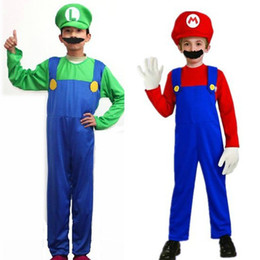 Wholesale-Kids Super Mario Luigi Bros Fancy Dress Plumber Game Costume Boys New