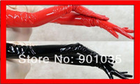 Wholesale NEW WOMEN GIRL SEXY BLACK RED PVC LEATHER LOOK SHINING LONG GLOVES CLUB DANCE pvc costume leather lingerie
