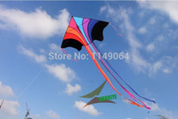 Wholesale high quality flying rainbow kite with100m handle line kite fabric ripstop kids kites factory chinese kite flying