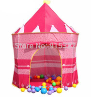 Cheap Wholesale-New Portable Pink Folding Play Tent Kid Girl's Princess Castle Fairy Cubby House New