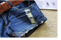 Cheap Wholesale-Hot-selling Fashion Stars Stripes US Flag Classical Summer Denim women hole ripped shorts Jeans