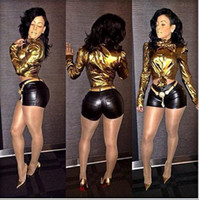 Wholesale women bodycon long sleeve gold color shirts crop tops and pencil shinny low waist black shorts clothing set lady clothes