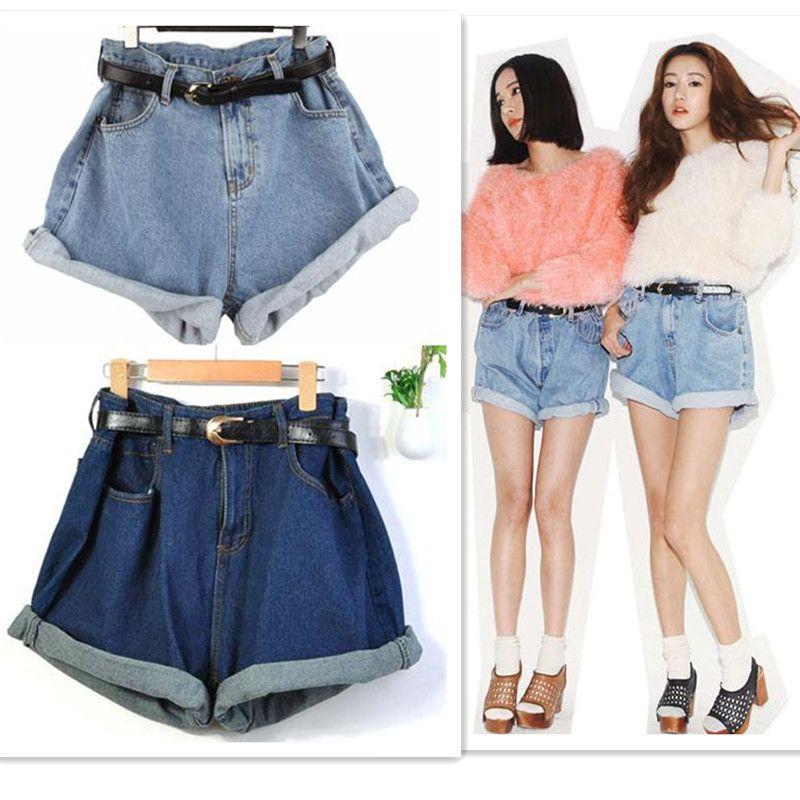best wholesale korean vintage high waist roll up loose