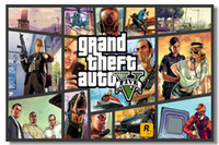 Wholesale Grand Theft Auto V Game Wall Silk Poster x24 x12 inch Big Promote Prints Boy Room GTA GTA5 Girl Box Art