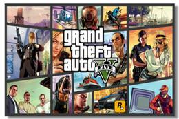 Wholesale Grand Theft Auto V Game Wall Silk Poster x24 x12 inch Big Promote Prints Boy Room GTA GTA5 Girl Box Art