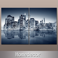 Cheap Wholesale-2pcs large USA New York City Manhattan Buildings at Night Aechitechture canvas picture printing wall Modern art canvas painting