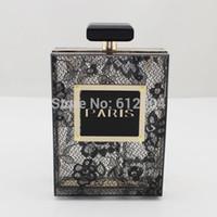 handbags paris - Fashion Lady Paris Perfume Bottle Black Lace Acrylic Clutch Evening Bag Handbag Purse Hot Sale