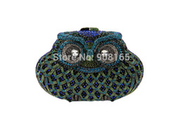Wholesale-Vintage Owl Shape Evening Rhinestone Clutch Bags Womens Chain Handbags Ladies Party Prom Purse Designer Evening Bags B387#