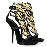 Cheap Wholesale-Hot fashion lady high heels gold leaf embellished wedge pump wings strap sandals for women roman gladiator party shoes size 4-11