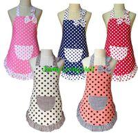 cotton apron - Sizes Apron Child Cute Cotton Polka Dots Apron Kids Apron for Painting Cooking Baking Party Apron