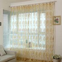 Оптовая моды современный органза закончил окно screning занавес для гостиной отвесными Voile шторы тюль панели украшение офиса