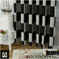 Wholesale black and white curtains country plaid curtains for living room bedroom
