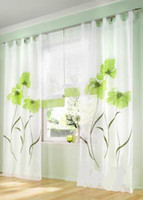 Wholesale cm wide Hot sale Finished curtains for windows gauze voile tulle sheer curtain modern flower curtains for living room