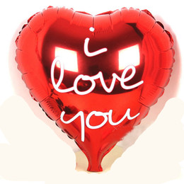 """Wholesale-Red Foil Heart Shaped Balloon """" I love you """" Birthday Valentine's Day Wedding Party Decoration 18 Inch Free"""