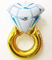 Wholesale Gold Diamond Ring Shape Foil Helium Balloons Valentine s Day Gift Party Decoration Birthday Wedding Decorate Ballons