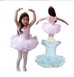 Promotion vêtements de ballet pour bébé Gros-bébé filles Parti Toddler Enfants Léotard Ballet Tutu Dancewear Skate Robes Size3-10Year Rose Blanc Dancy Costume Vêtement Robe