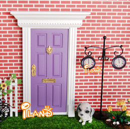 Wholesale ilan Dolls house Miniatures Lovely Fairy Doors Attractive Purple Exterior Door W Metal Accessories Exquisite