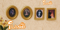 gold picture frame - iland Cheap Dollhouse Miniature Framed Picture Portrait Wooden marry OM030 Classic toys