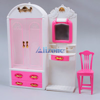 kids plastic chair - New Kid Pink Bedroom Dollhouse Furniture Makeup Table Mirror Chair Doll House Toys For Girls