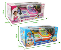 barcode cash register - Hot Supermarket Cash Register Toy with Turntable Microphone Barcode Scanner Calculator Play Money and Shopping Playset for kids