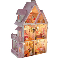 Wholesale DIY light21 quot dream wood miniature dollhouse kit rooms amp furnitures Sunshine Alice