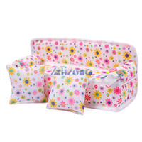 Wholesale Mini Furniture Flower Sofa Couch Cushions Doll House Kitchen Accessories Toys