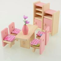 achat en gros de jouer dollhouse miniature-Gros-bois Doll Dinning Maison Meubles Dollhouse Miniature For Kids Lecture Toy livraison gratuite