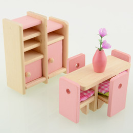 wholesale wooden doll dinning house furniture dollhouse miniature for kids play toy free shipping affordable pink dollhouse furniture affordable dollhouse furniture