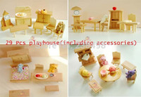 wood furniture kitchen - Hot sale play house cute toy small furniture d puzzle child assembling model wood bedroom kitchen