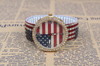 auto flag - American Flag logo Casual Watch Geneva Unisex Quartz watch men women Analog wristwatches Dropship
