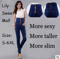 Wholesale High waist women jeans plus size to xl jeans women high waist jeans women pants women trousers jeans