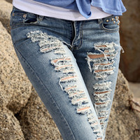 acid wash jeans - High Quality Pencil Destroyed Skinny designer jeans Women ripped jeans Woman Brand Acid Wash Ripped Jeans for women Z403