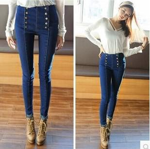 Best Wholesale New 2015 Jeans Woman Fashion Double Buttons High ...