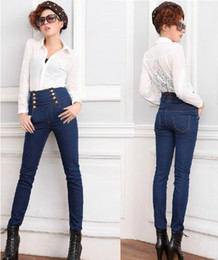 Wholesale-2015 New Fashion Women High Waist Skinny Double-breasted Jeans Pants Free Shipping Lady's Plus big Size Jeans Pencil Pants