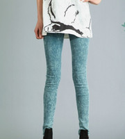 acid snow - Spring new candy colored fake snow washed jeans elastic waist stretch leggings girls colors girls