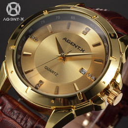 Wholesale AGENTX Gold Full Stainless Steel Case Reloje Auto Date Display Analog Genuine Leather Band Quartz Men Casual Watch AGX027