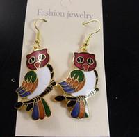 cloisonne earrings - New Owl Earring Fashion Jewelry Earring Dangler High quality China Cloisonne Alloy Earring pc Free