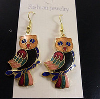 Wholesale Fashion Owl Earring Alloy Earring Dangler High quality China Cloisonne Jewellery Earring pc Free