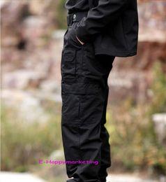 Wholesale-Combat Training pants Men's Army Grid Pants Poly-Cotton Ripstop Teflon Waterproof Black