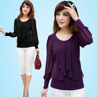 Cheap Wholesale-Fashion Women's Summer Full-sleeve Top Ladies Chiffon Blouses Shirts Large Size w140