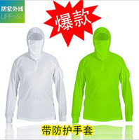 Wholesale Fishing wear Fishing Shirts Outdoor Protection Hooded coat Unisex clothing UV Sunproof Quick Dry Camping Hiking Shirt