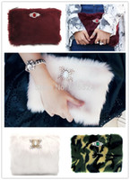 Gros-2015 mode vintage HOLLYWOOD femmes Fausse Fourrure embrayage / Cotton Candy / Bourgogne / Camouflage Jewel Fur embrayage SOIRÉE POCHETTE