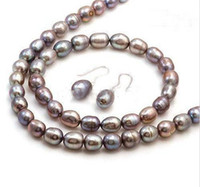 Wholesale new STERLING SILVER GREY FRESHWATER PEARL JEWELRY SET