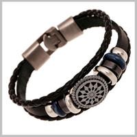al por mayor coreano pulsera de cuero-Al por mayor-hecha a mano del encanto trenzado cuero auténtico hombre pulsera de la vendimia de la moda pulseras grabadas brazaletes joyería coreana pulseira masculina