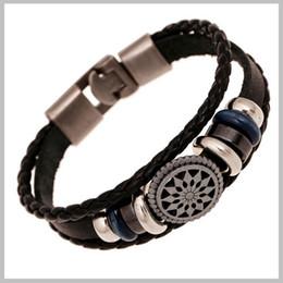 Wholesale-Handmade braided charm Genuine Leather bracelet men fashion vintage engraved bracelets bangles korean jewelry pulseira masculina