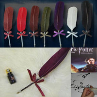 Wholesale Retro dip quill pen Goose feather Craft gift pen Harry Potter Guest Book gel ink quill pen