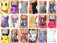 Wholesale New Polyester D Digital Print Adventure Time Batman Patterns Sexy Punk One Piece Swimsuits For Women Various Styles